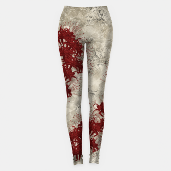 Thumbnail image of elegant flower cluster amaryllis red with Japanese traditional Kamon decoration Leggings, Live Heroes