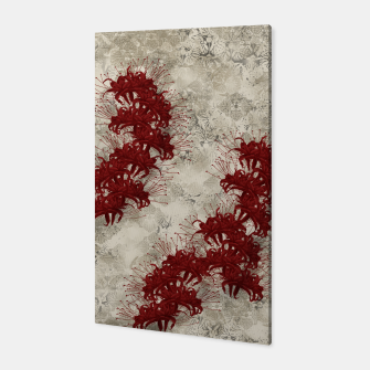 Thumbnail image of elegant flower cluster amaryllis red with Japanese traditional Kamon decoration Canvas, Live Heroes