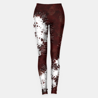 Thumbnail image of elegant flower cluster amaryllis white with Japanese traditional red Kamon decoration Leggings, Live Heroes