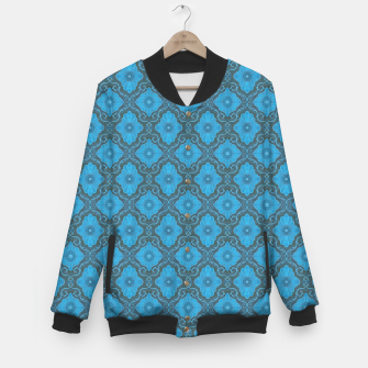 Thumbnail image of Sky-blue Flowers Baseball Jacket, Live Heroes