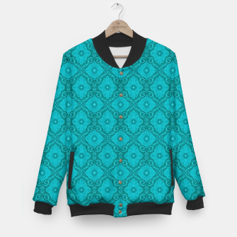 Thumbnail image of Turquoise flowers, floral pattern Baseball Jacket, Live Heroes