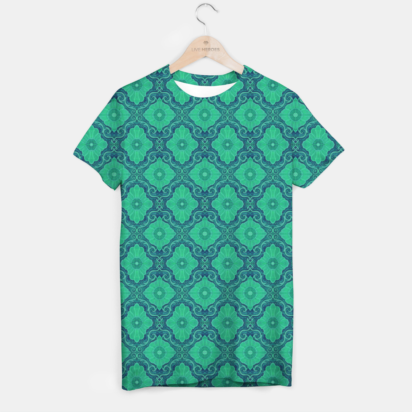 Image of Green Flowers, vintage floral pattern T-shirt - Live Heroes