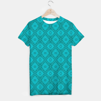 Thumbnail image of Turquoise flowers, floral pattern T-shirt, Live Heroes