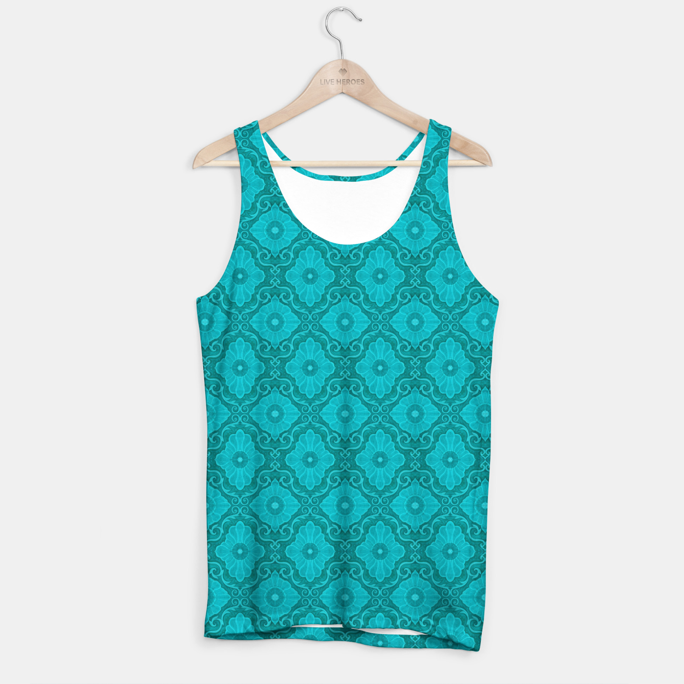 Image of Turquoise flowers, floral pattern Tank Top - Live Heroes