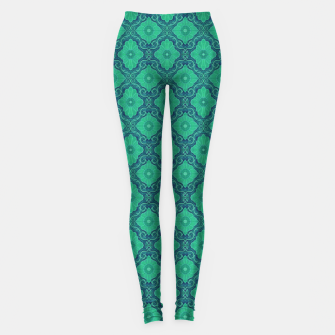 Green Flowers, vintage floral pattern Leggings thumbnail image