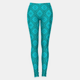 Thumbnail image of Turquoise flowers, floral pattern Leggings, Live Heroes
