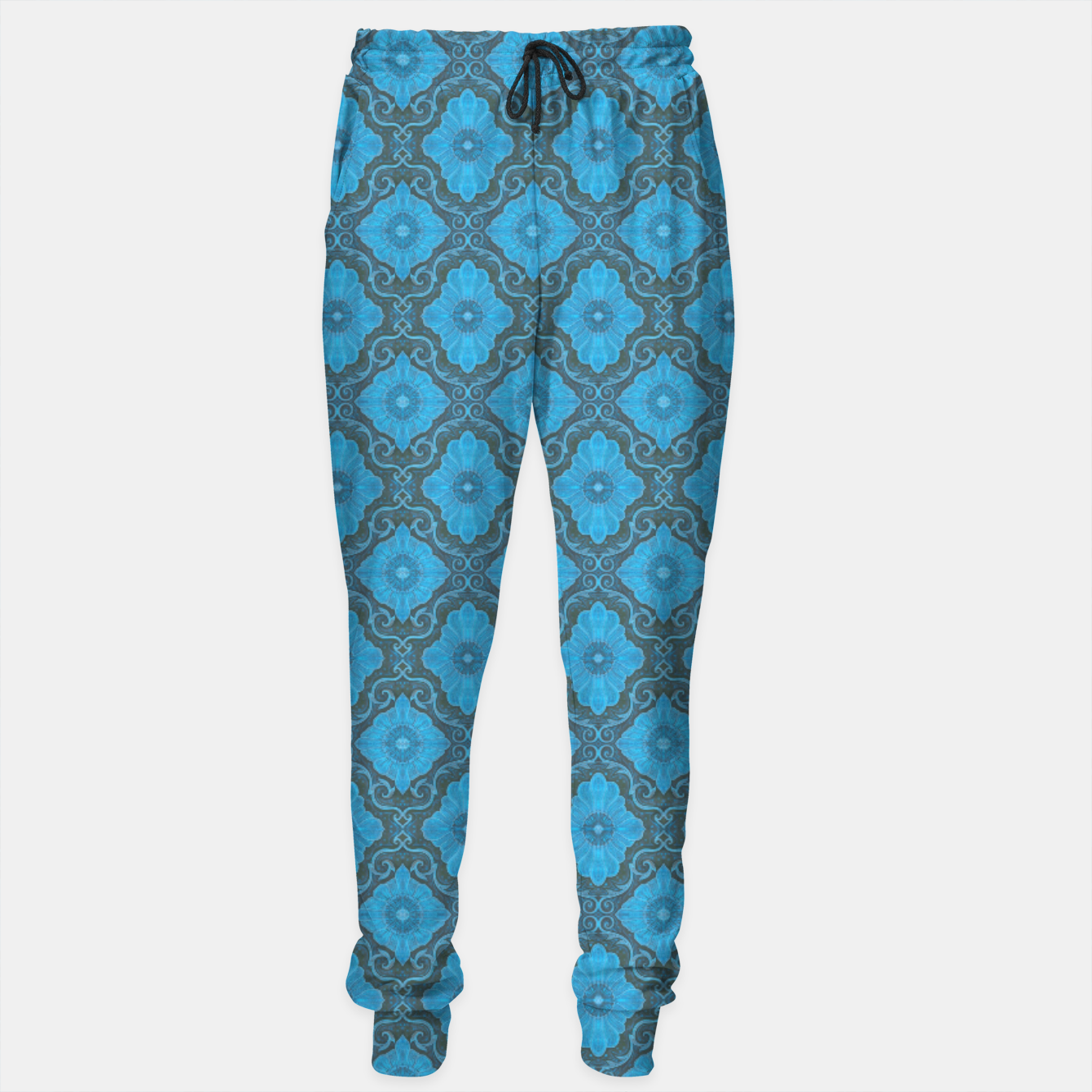 Image of Sky-blue Flowers Sweatpants - Live Heroes