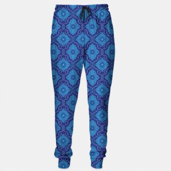 Thumbnail image of Blue Flowers, Bohemian Floral Arabesque Pattern Sweatpants, Live Heroes