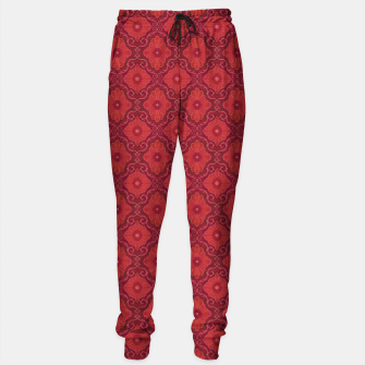 Red Flowers, floral arabesque Sweatpants thumbnail image