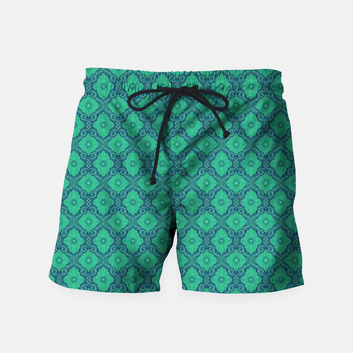 Image of Green Flowers, vintage floral pattern Swim Shorts - Live Heroes