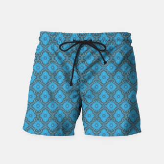 Thumbnail image of Sky-blue Flowers Swim Shorts, Live Heroes