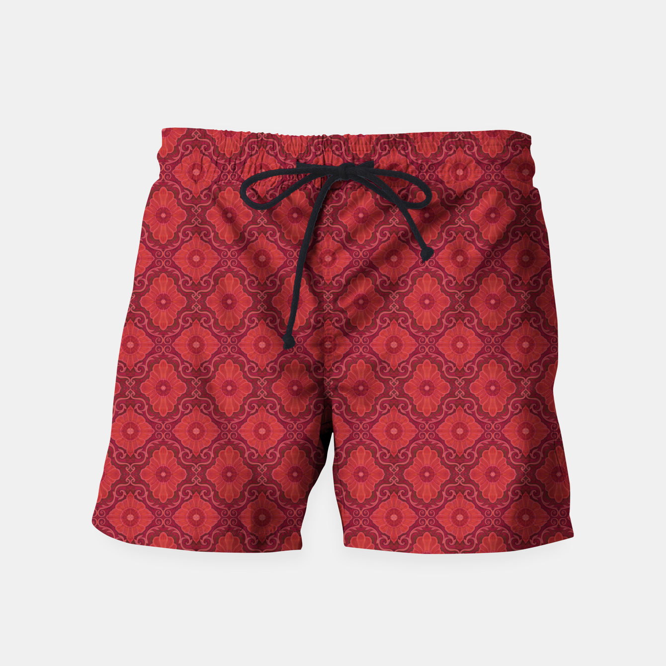 Image of Red Flowers, floral arabesque Swim Shorts - Live Heroes