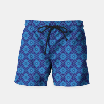 Blue Flowers, vintage floral pattern Swim Shorts thumbnail image