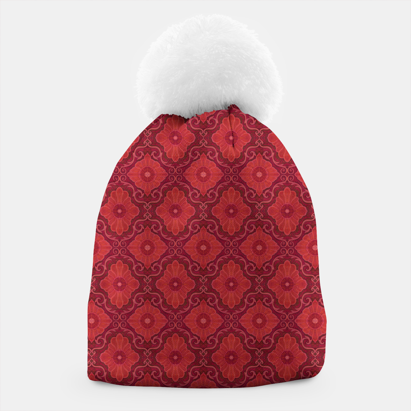 Image of Red Flowers, floral arabesque Beanie - Live Heroes