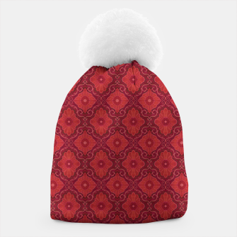 Red Flowers, floral arabesque Beanie thumbnail image