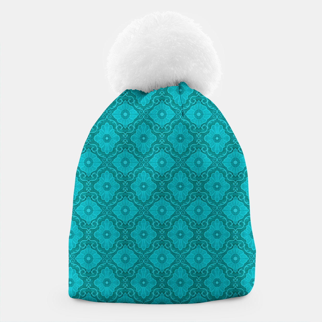 Image of Turquoise flowers, floral pattern Beanie - Live Heroes