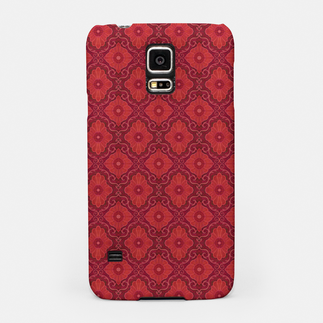 Image of Red Flowers, floral arabesque Samsung Case - Live Heroes