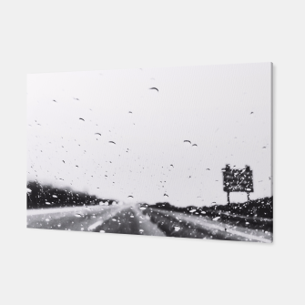 Thumbnail image of on the road in the rainy day in black and white Canvas, Live Heroes