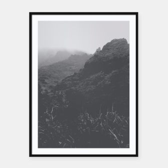 Thumbnail image of mountain in the forest with foggy sky in black and white Framed poster, Live Heroes
