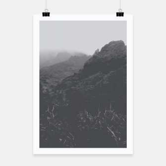 Thumbnail image of mountain in the forest with foggy sky in black and white Poster, Live Heroes