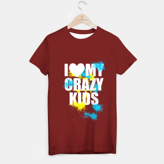 Thumbnail image of I love my crazy kids (white) T-shirt régulière, Live Heroes