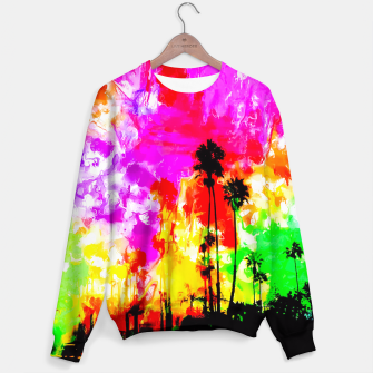 Thumbnail image of palm tree at the California beach with colorful painting abstract background Sweater, Live Heroes