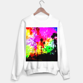 Thumbnail image of palm tree at the California beach with colorful painting abstract background Sweater regular, Live Heroes