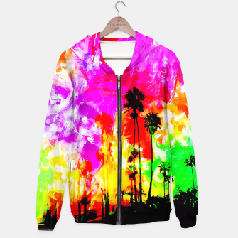 Thumbnail image of palm tree at the California beach with colorful painting abstract background Hoodie, Live Heroes