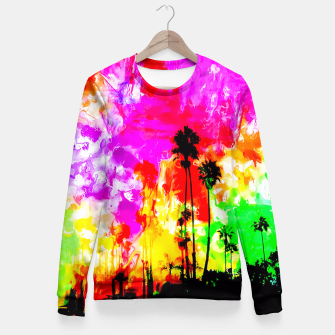 Thumbnail image of palm tree at the California beach with colorful painting abstract background Fitted Waist Sweater, Live Heroes