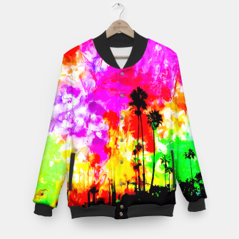 Thumbnail image of palm tree at the California beach with colorful painting abstract background Baseball Jacket, Live Heroes