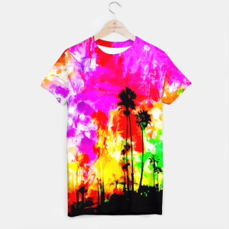 Thumbnail image of palm tree at the California beach with colorful painting abstract background T-shirt, Live Heroes