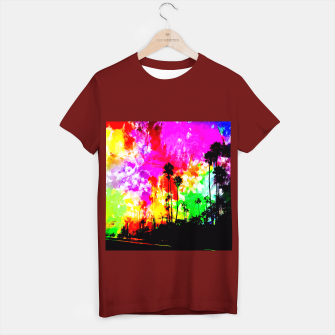 Thumbnail image of palm tree at the California beach with colorful painting abstract background T-shirt regular, Live Heroes