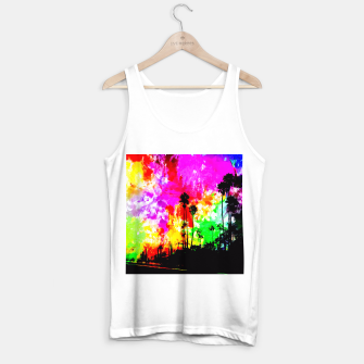 Thumbnail image of palm tree at the California beach with colorful painting abstract background Tank Top regular, Live Heroes