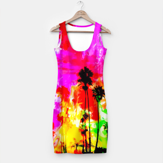 Thumbnail image of palm tree at the California beach with colorful painting abstract background Simple Dress, Live Heroes
