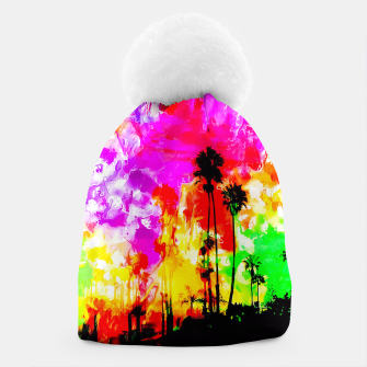 Thumbnail image of palm tree at the California beach with colorful painting abstract background Beanie, Live Heroes