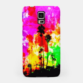 Thumbnail image of palm tree at the California beach with colorful painting abstract background Samsung Case, Live Heroes