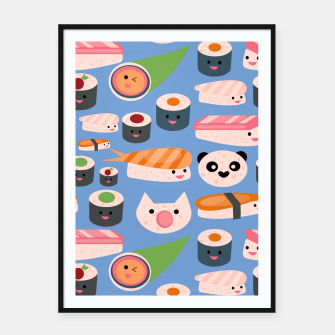 Thumbnail image of KAWAII sushi blue Framed poster, Live Heroes