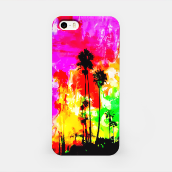 Thumbnail image of palm tree at the California beach with colorful painting abstract background iPhone Case, Live Heroes