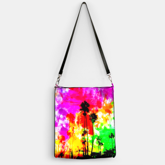 Thumbnail image of palm tree at the California beach with colorful painting abstract background Handbag, Live Heroes