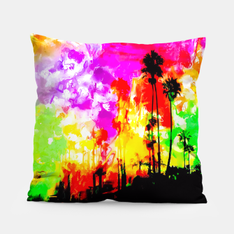 Thumbnail image of palm tree at the California beach with colorful painting abstract background Pillow, Live Heroes