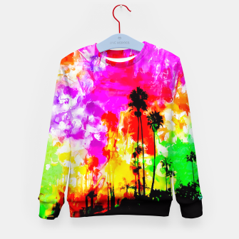 Thumbnail image of palm tree at the California beach with colorful painting abstract background Kid's Sweater, Live Heroes