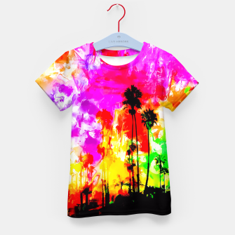 Thumbnail image of palm tree at the California beach with colorful painting abstract background Kid's T-shirt, Live Heroes