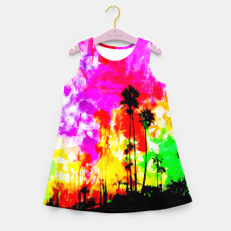 Thumbnail image of palm tree at the California beach with colorful painting abstract background Girl's Summer Dress, Live Heroes