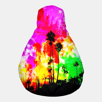 Thumbnail image of palm tree at the California beach with colorful painting abstract background Pouf, Live Heroes