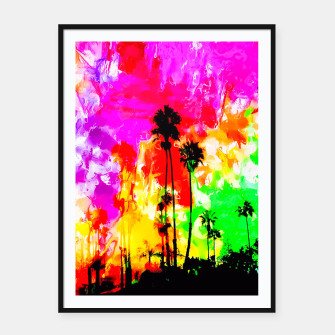 Thumbnail image of palm tree at the California beach with colorful painting abstract background Framed poster, Live Heroes