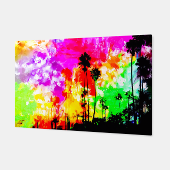 Thumbnail image of palm tree at the California beach with colorful painting abstract background Canvas, Live Heroes