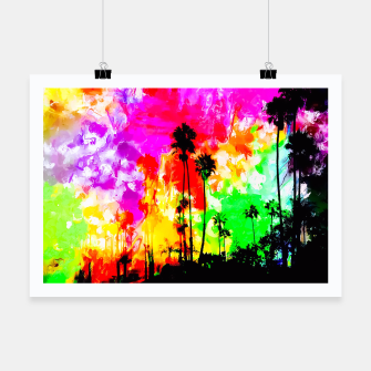 Thumbnail image of palm tree at the California beach with colorful painting abstract background Poster, Live Heroes