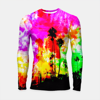 Thumbnail image of palm tree at the California beach with colorful painting abstract background Longsleeve Rashguard , Live Heroes