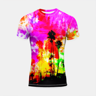 Thumbnail image of palm tree at the California beach with colorful painting abstract background Shortsleeve Rashguard, Live Heroes
