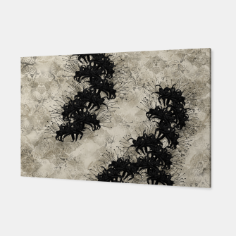 Thumbnail image of elegant flower cluster amaryllis black with Japanese traditional Kamon decoration Canvas, Live Heroes